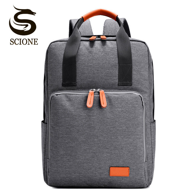 Scione Laptop Backpack Women Square Canvas Backpacks with Leather Teenage Boys Girls School Bags Mens Large Capacity Travel Bags