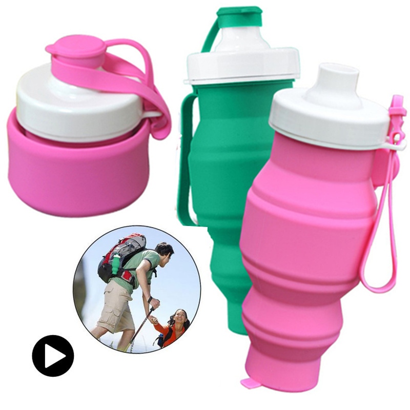 Folding kettle 500ml Foldable Water Bottle Vogue Outdoor Travel Silicone Retractable Folding Telescopic Collapsible