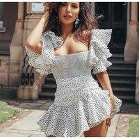 EXCOSMIC Bohemian A Line Polka Dot Dress Beach Style Butterfly Sleeve Mini Dress Slash Neck Dress Chiffon Short Party Dress