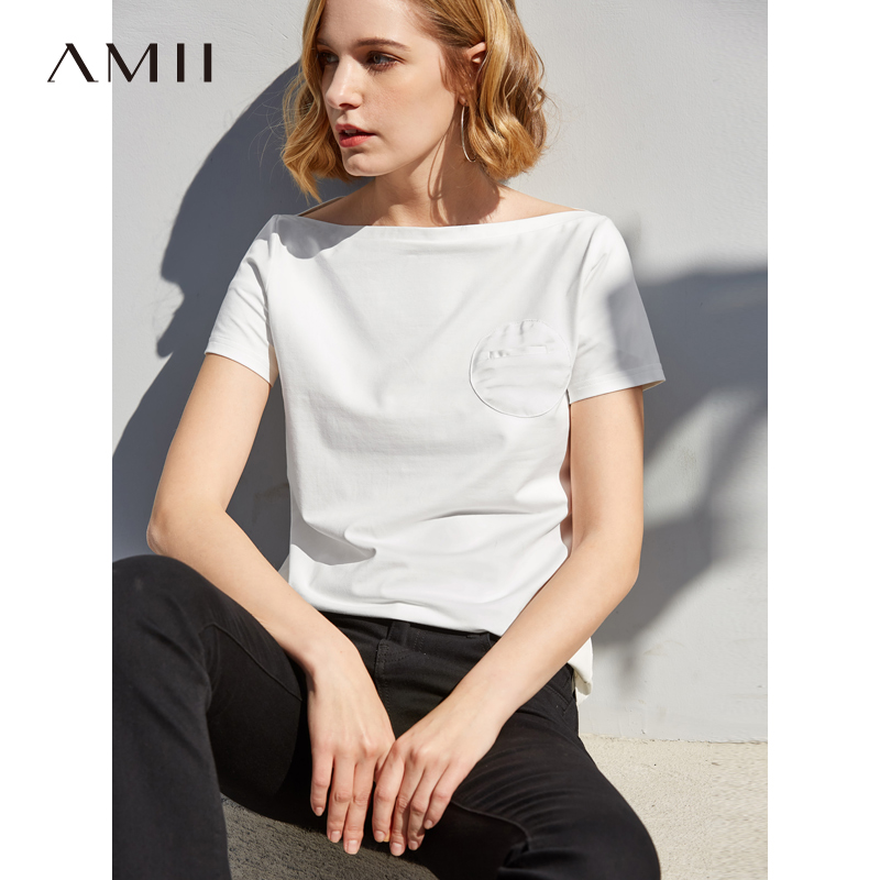 Amii Minimalist T shirts Women Spring Summer 2019 Causal Solid Short Sleeve Slash Collar Patchwork Cotton Female Top Tees