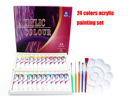 Water-resistant 24 Colors 12ML Tube Acrylic Paint Set Stationery Set Color With 5paint Brush Palette Art Painting Fabric  Set
