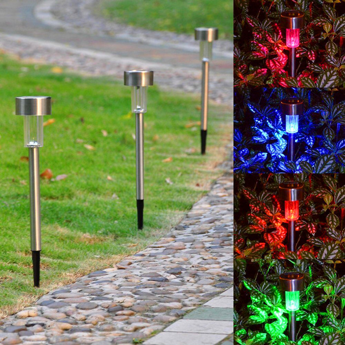 3pcs Stainless Steel Colorful Landscape Lamp Solar Light Garden Decoration Path Street Lights ...