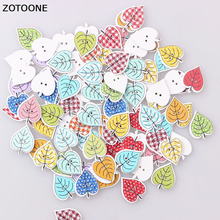 ZOTOONE 100PCS Mix Color Heart Tree Button Handmade Wooden Sewing Buttons Two Holes Cabochon Scrapbooking DIY Accessoires E