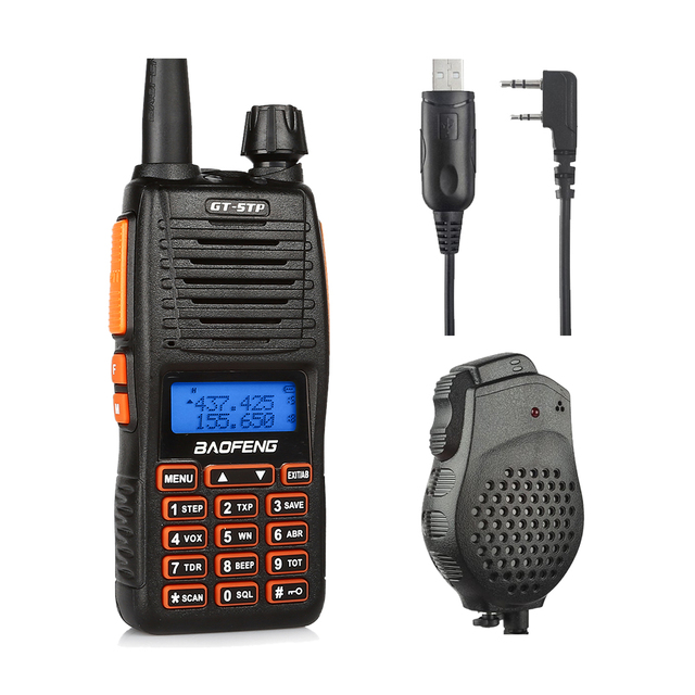 Baofeng GT-5TP Tri-Power 8W Dual Band VHF/UHF 136-174/400-520MHz Two-Way Radio Walkie Talkie with Speaker&Win10 Supported Cable