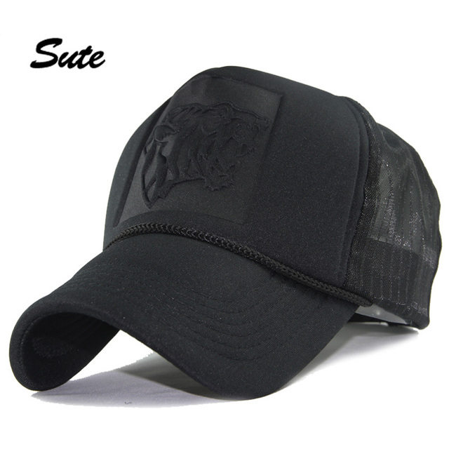 d46d35312c8 SUTE Hip Hop Black leopard Print Curved Baseball Caps Summer Mesh Snapback  Hats For Women Men casquette Trucker Cap Net cap