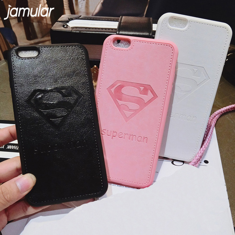 JAMULAR Phone Cases for iphone X 8 7 6S 6 Plus Superman Case Soft Silicone PU Leather Back Cover For iPhone 8 7 6 6s Plus Capa