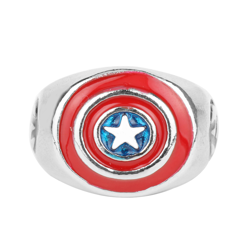 Wholesale New Arrival Movie Captain America Ring Avengers Superhero Ring Jewelry Mens Womens Fashion Vintage Jewelry Gifts