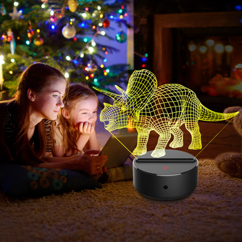 Triceratops Novelty Touch Switch Desk Light Night Light Colorful USB LED Table acrylic Lamp 3D Illusion Dinosaur For Home Decor novelty products cartoon cute horse usb 3d desk lamp directly usb novelty touch charming horse lamp 3d dimmable night light