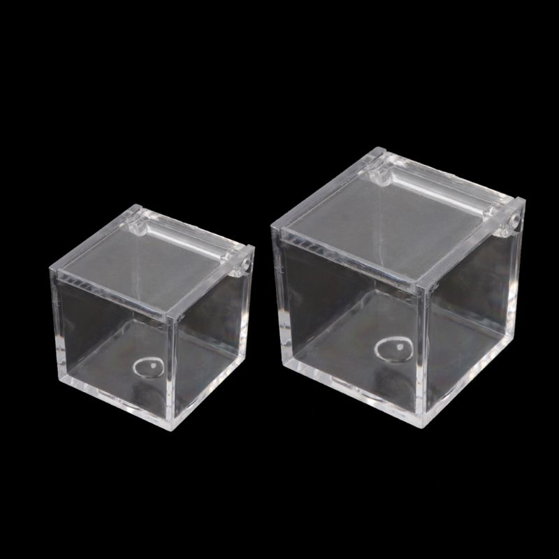 12Pc Transparent Acrylic 5 Sided Display Storage Box Case Square Cube Props Box Y4QB in Jewelry Packaging Display from Jewelry Accessories