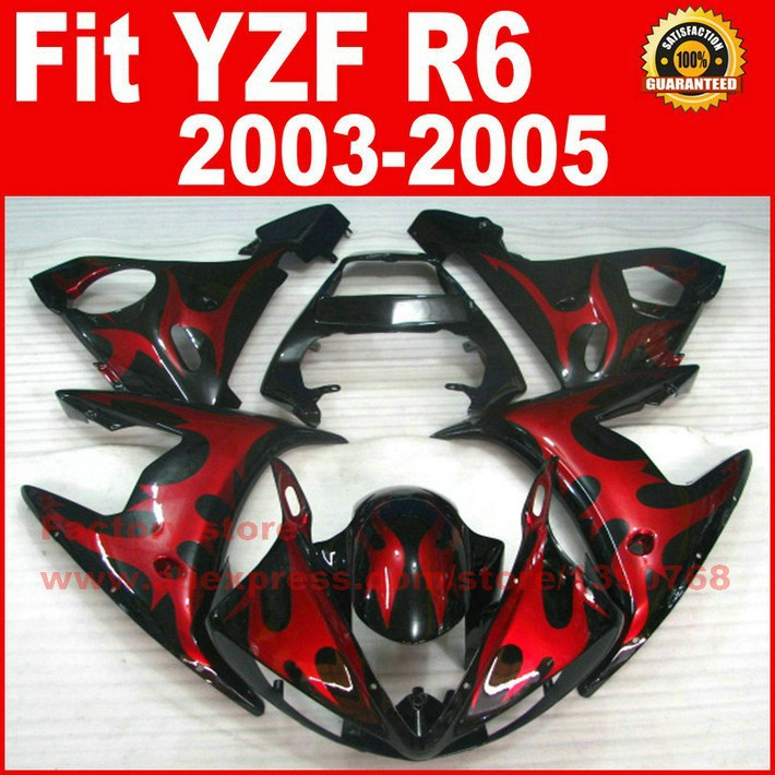 Red Black bodywork for YAMAHA R6 fairings 2003 2004 2005 YZFR6 fairing kit 03 04 05 bodywork kits A9C5 custom motorcycle body fairings kit for yamaha r6 2003 2004 2005 yzf r6 03 04 05 red flame fairing kits bodywork part