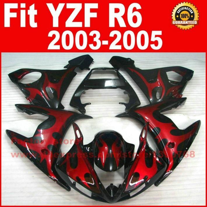 Red Black bodywork for YAMAHA R6 fairings 2003 2004 2005 YZFR6 fairing kit 03 04 05 bodywork kits A9C5 new motorcycle fairings kit for yamaha r6 2003 2004 2005 yzf r6 03 04 05 yellow black fairing kits body repair part