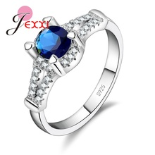 Brand Women Rings Silver S90 Elegant Cubic Zirconia Anillos Band Jewelry Proposal Ring For Female Fashion Wedding Jewelry