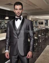Custom Made 2 Buttons Groom Tuxedos Grey Best man Shawl Black Lapel Groomsman Men Wedding Suits Bridegroom Jacket+Pants+Tie+Vest