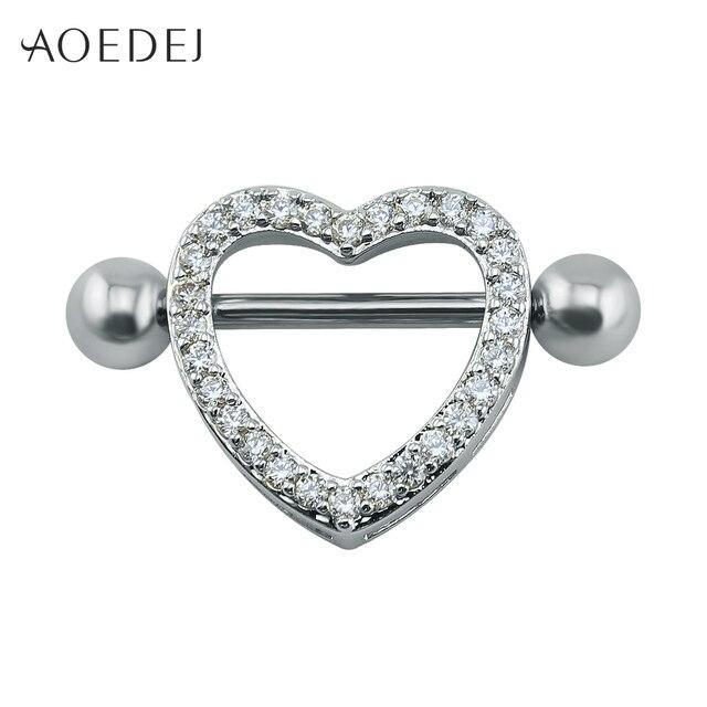 bb855f7fe3e3d5 14g Heart Rhinestone Nipple Ring Shields Surgical Steel Piercing Jewelry  Barbell Piercing Rings Body Jewelry Women Hot Punk