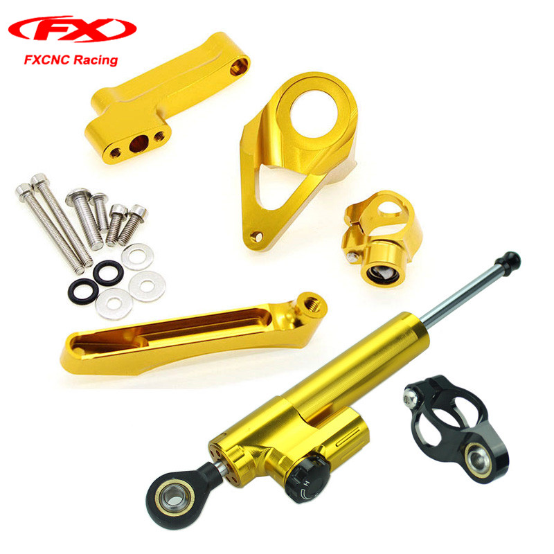 FX CNC Motorcycle Damper Steering Stabilizer Linear Reversed Safety Control + Brackets for SUZUKI GSXR1300 GSXR 1300 1998-2016 universal motorcycle steering damper stabilizer linear reversed safety control