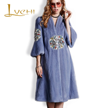 LVCHI Imported Platinum Velvet Mink Fur tunic Coats Round Print Diamond Fashion Fur Topcoat Winter Women's Clothing Real Fur