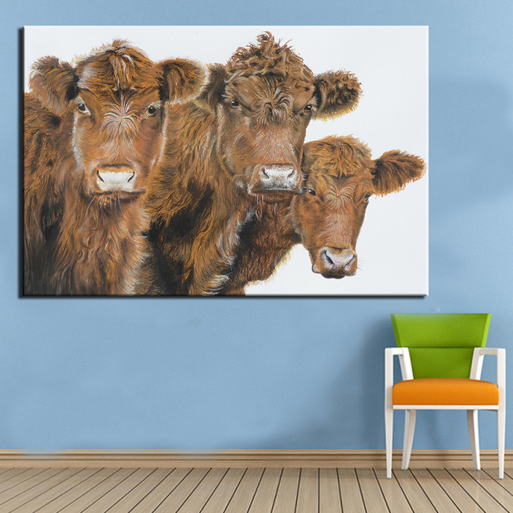 Stupendous Home Decor Wall Free Painting From Home No Frame Animal Arts Three Cows Printed Oil Painting On Canvas Wall No Frame Animal Arts Three Cows Printed Oil Painting On Canvas Wallpainting home decor Cows Home Decor
