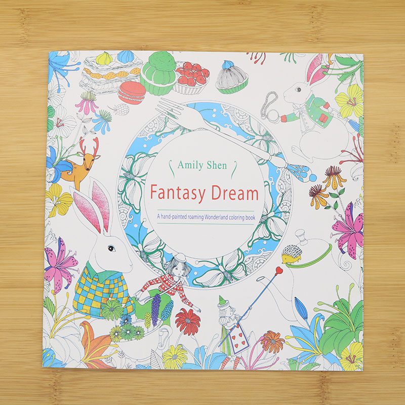 24 Pages Hand-Painted Coloring English Wallpaper Fantasy Dream Child Adult Reduce Stress Kill Time Student Drawing Book