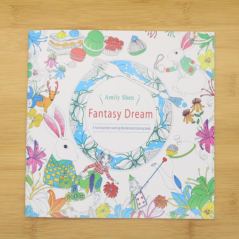 24 strony ręcznie malowane kolorowanki angielski tapety marzenie Fantasy dziecko dorosłych zmniejszyć stres zabić czas uczeń szkicownik na