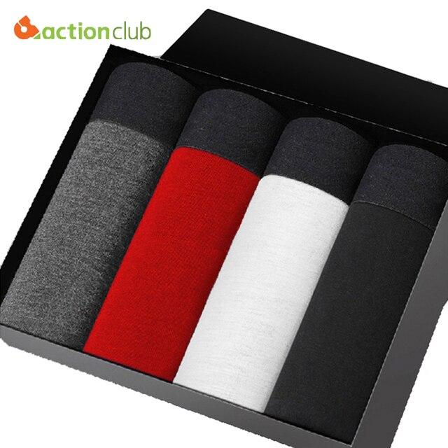 ACTIONCLUB Men Underwear Boxer Shorts Man 4pcs/Box U Convex Corner Shorts Cotton Soft Breathable Boxers Men's Solid Underwear