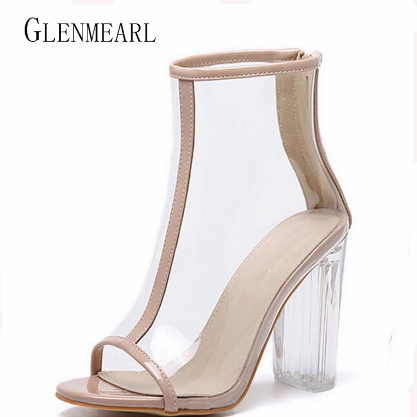 2017New Summer High Heel Women's Sandals Pumps Peep Toe Thick With Crystal Heel Rome Ankle Boots Summer Shoes Sandal Plus Size35 abnormal ankle strap folk multi colored catwalk colourful sandal round toe chunky peep pumps pom high quality designer shoe heel