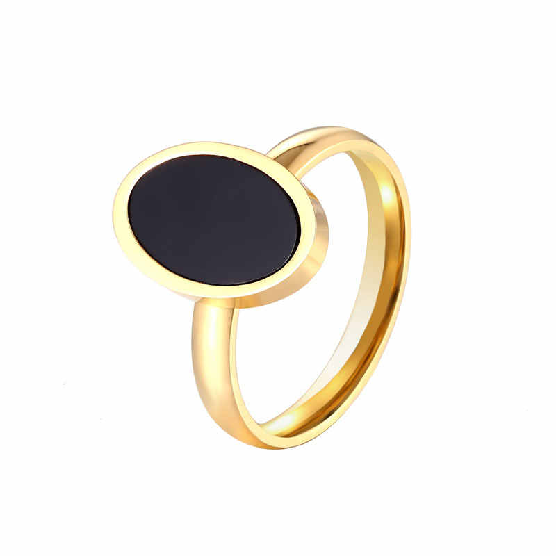 New Arrival Black Oval Enamel Woman Ring Stainless Steel Gold Color Jewelry for Women Brand Party Ring Wholesale