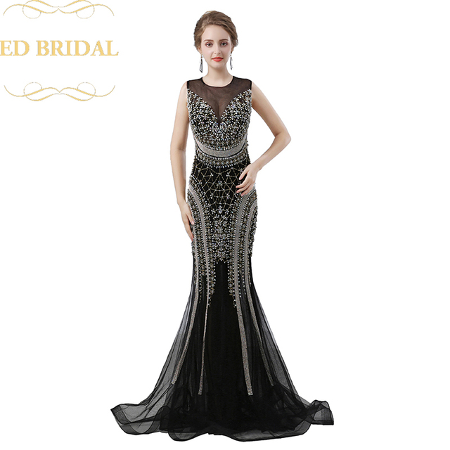 Illusion Neckline Open Back Y Mermaid Prom Dress Allover Heavy Beaded Long Evening Gown Luxury Party