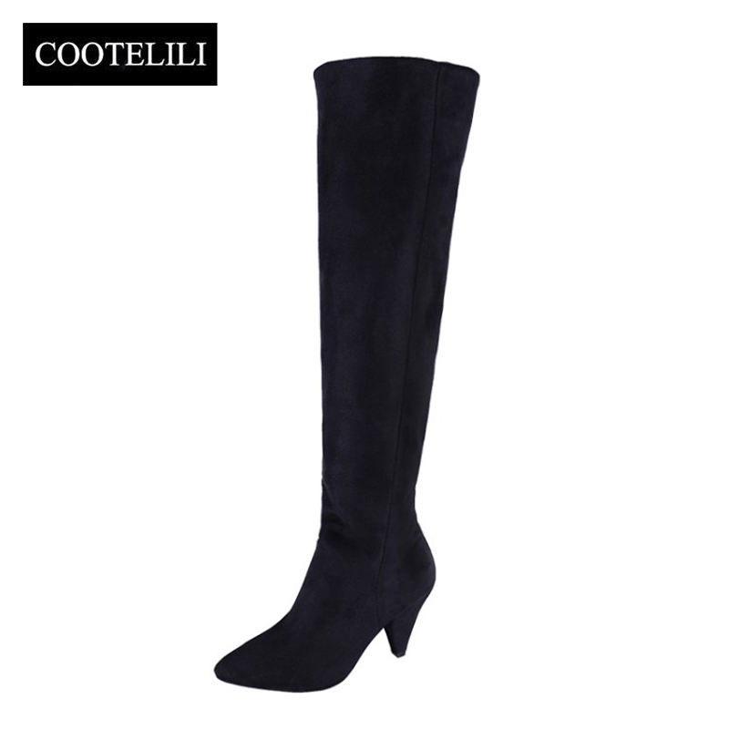 COOTELILI Ankle-Boots Shoes Over-The-Knee Autumn Winter Women Pu for Black Thigh Pumps
