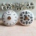 Black & White Relógio de Tempo Rodada Cerâmica Puxadores Dresser Gaveta Puxa Móveis puxadores Decorativos Exclusivos