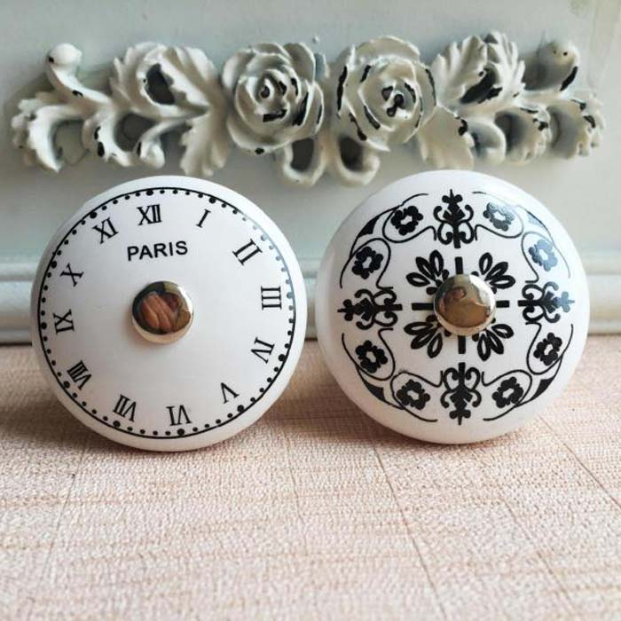 Black  White Time Clock Round Ceramic Cabinet Knobs