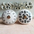 Black & White Time Clock Round Ceramic Cabinet Knobs Dresser Drawer Pulls Unique Decorative Furniture handles
