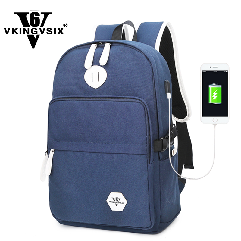 VKINGVSIX Canvas USB backpacks school bags teenagers women laptop schoolbag  backpack mochila girl back pack bagpack sac a dos 0b0791d15c05d
