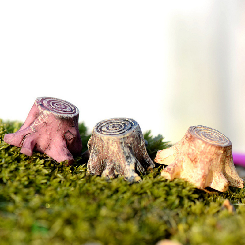 1 Pcs Miniature Figurines Crafts Decorations Resin Tree Stump Fairy Terrarium Christmas Xmas Party Garden Gifts Random Color