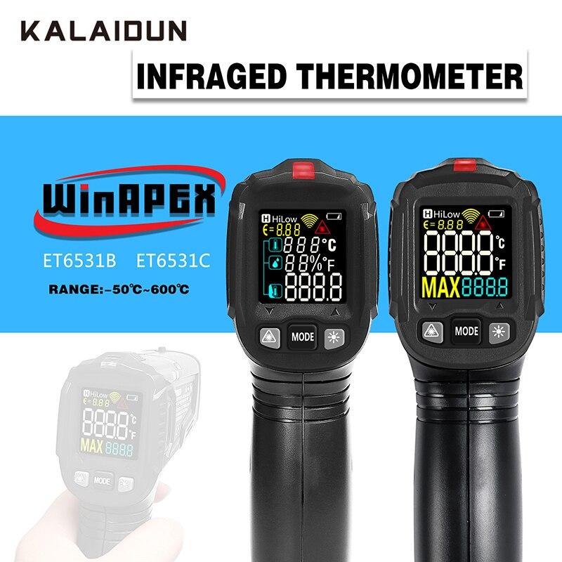 KALAIDUN 50 600 Degree Digital Thermometer Humidity Meter Infrared Temperature Gun Hygrometer Pyrometer Industrial Test Tool