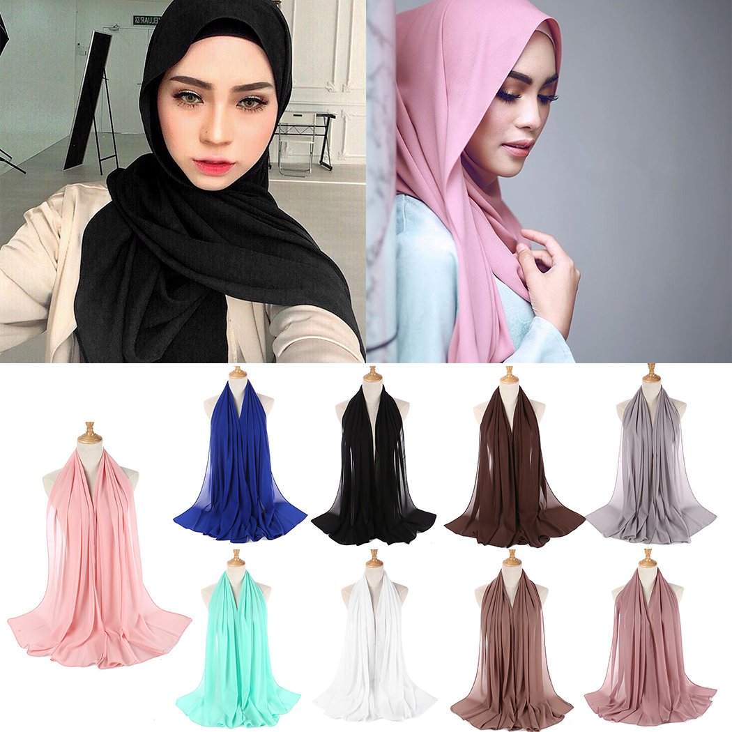 Aliexpress.com : Buy 9 Colors Maxi Chiffon Scarf Bubble Crinkle Hijab Women  Plain Wrinkled Muslim Head Shawl Hijabs Wrap Female Scarves 175cm X 80cm  from ...