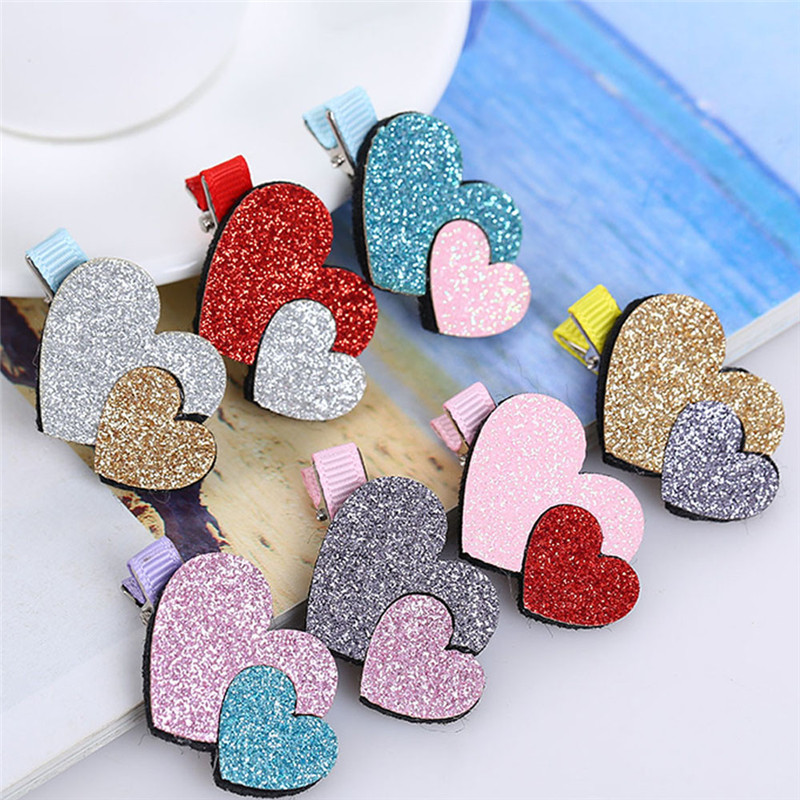2Pcs Baby Girls Toddler Infant Kids Heart Pattern Hairpin Hair Clip Accessories b# dropshipping