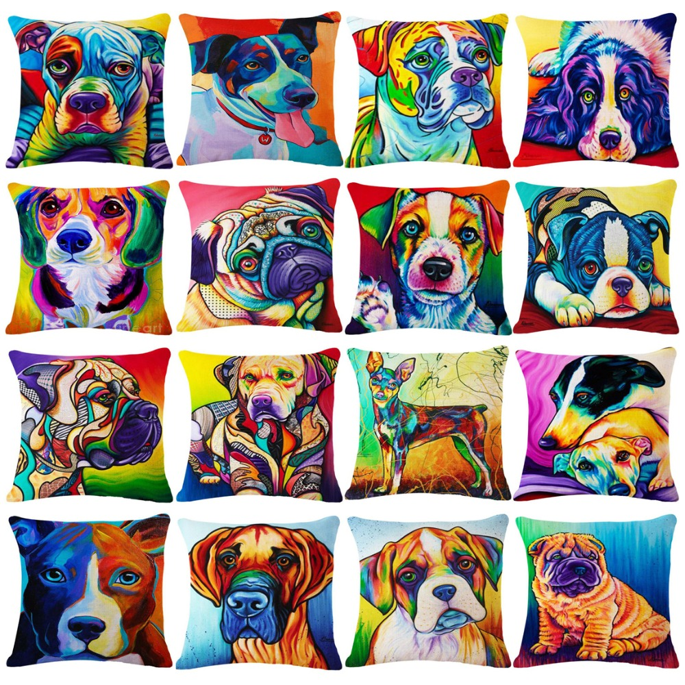 Cute Cartoon Watercolor Dog Decorative Cushion Cover 45x45CM Cotton Linen Square Throw P ...