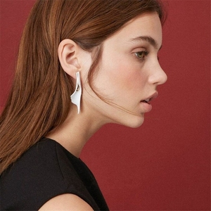 Image 2 - European and American niche design white enamel earrings female exaggerated temperament personality retro cold wind French