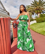 Strapless Leaves Print WomenTwo Piece Set Summer Sleeveless Ruffles Short  Top And Fashion Sash Long Loose c3f9a82cd882