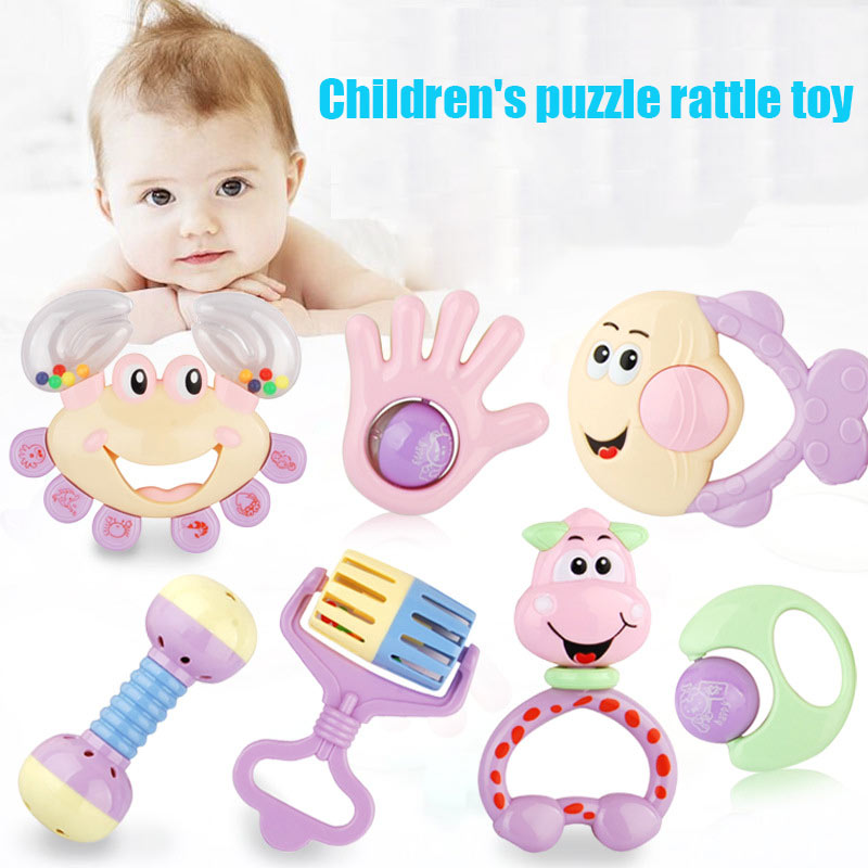7 Pcs Baby Kids Hands Bells Rattle 1-3 Years Old Toy Dumbbell Cartoon Rings ABS Safe @ZJF