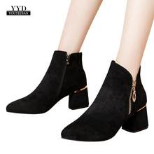 YOUYEDIAN socks boots 2018 Women High Heel Shoes Suede Solid Color Martain Boots Pointed Toe Zipper Shoes salto alto festa #25(China)