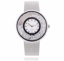 Top Brand Fashion Quicksand diamond Luxury Women Watch Women stainless steel Mesh Band Quartz Wristwatch Relogio Relojes Mujer