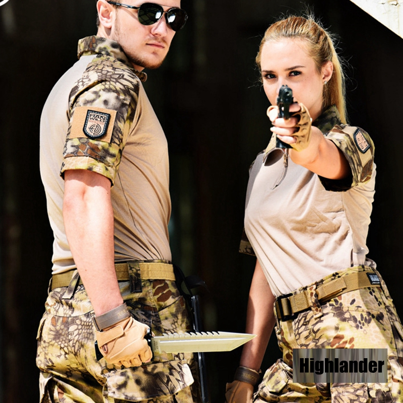 Short Sleeve Airsoft with Knee Pads Tactical Military Jacket Combat Camouflage Hunting Clothes