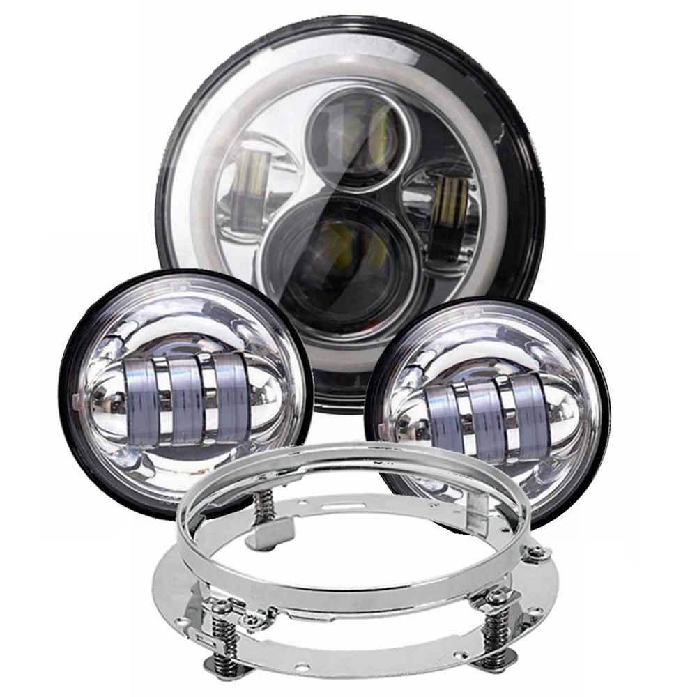 1 Set White Amber Halo 7  Motorcycle Daymaker LED Headlight with Adapter Ring + 2* 4-1/2 LED Passing Front Lights for Harley