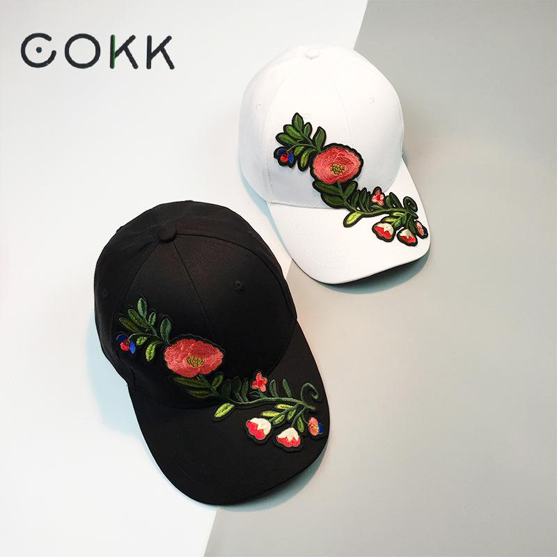 COKK Flower Baseball Cap Women Floral Snapback Hats For Women Vintage Cap Female Hip Hop China Style Sun Cap Dad Hat Bone Kpop 2016 fashion women waterproof pu leather rivet backpack women s backpacks for teenage girls ladies bags with zippers black bags