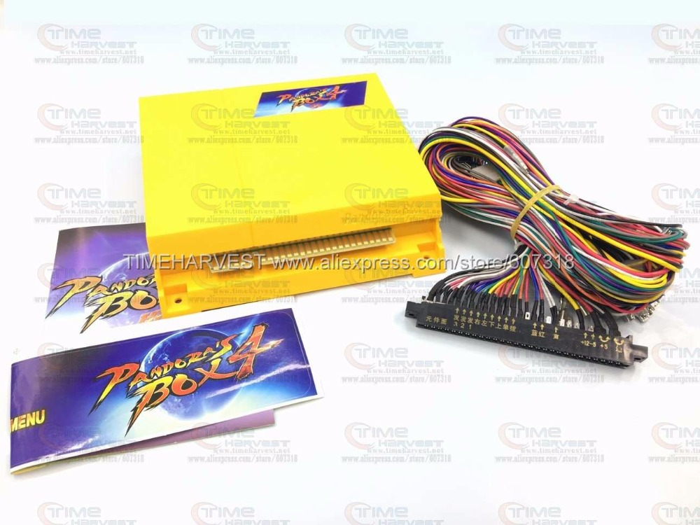 Free shipping Pandora Box 4 multi games 645 in 1 game board with Jamma harness (5, 6) for CGA CRT or LCD monitor Arcade machine led lights mini arcade bundle machines 645 in 1 joystick game consoles with jamma multi games pandora 4 game pcb board