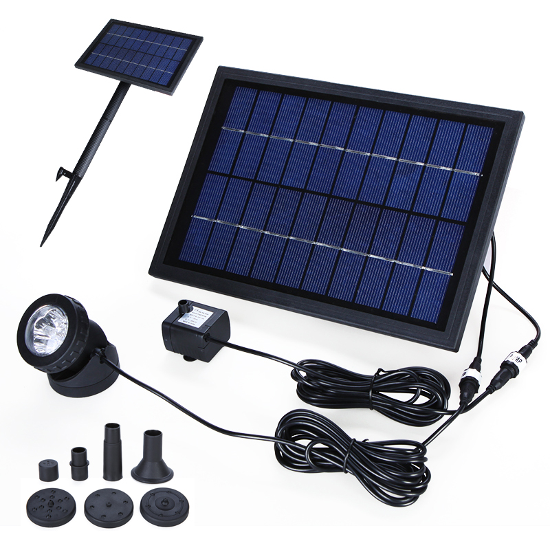 10V 5W Solar Power Water Pump Decorative Power Fountain Water Pumps with 6 LED Spotlight for