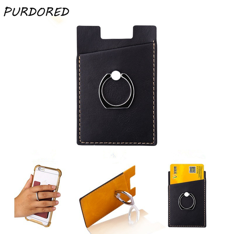 PURDORED 1 Pc Phone Card Holder Women Credit ID Card Holder Men Pocket Stick On Adhesive With Finger Ring Dropshipping