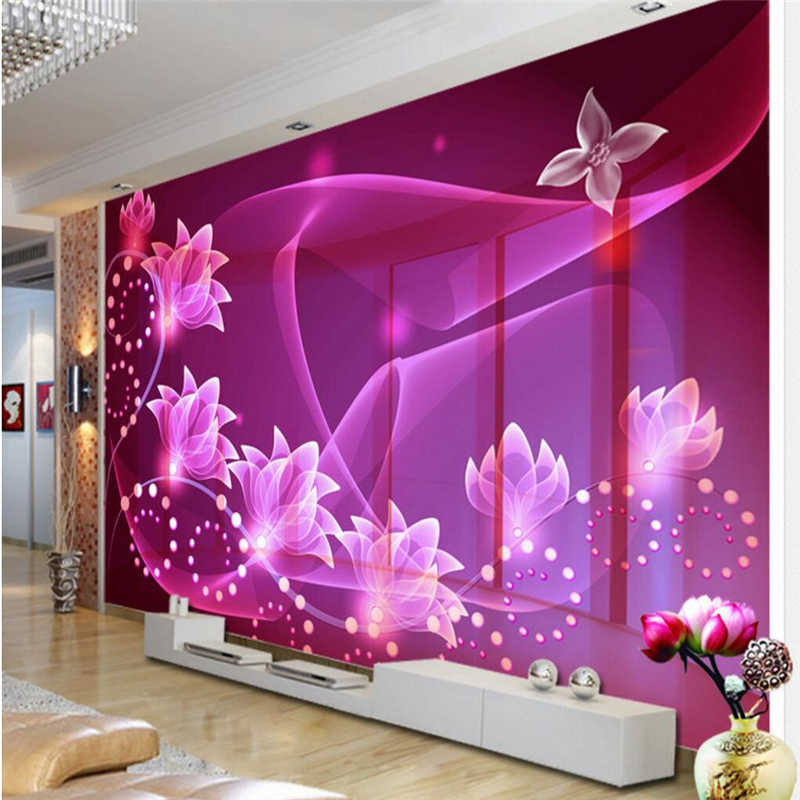 Large 3d European Pearl And Rose Jewelry Tv Background: Custom Photo Wallpaper Modern Purple Rose Flowers 3D