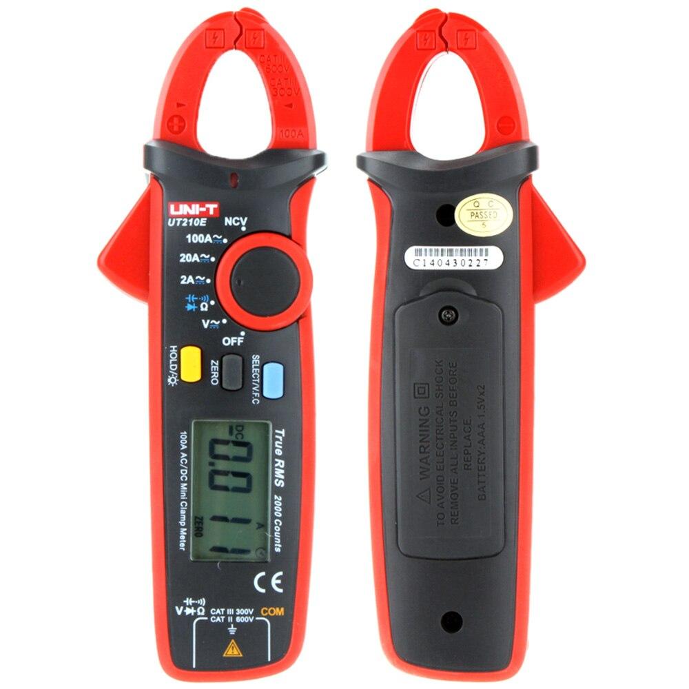 UNI-T UT210E Multimètre Numérique Pince Multimètre AC/DC Tension Courant Indicateur Auto Gamme Voltmètre Ameter Résistance Capacité Test